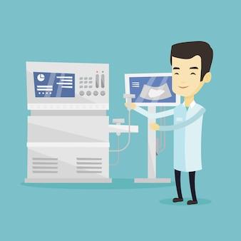 Azjatycka ultradźwięk lekarki ilustracja.
