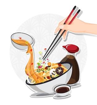 Azjatycka zupa makaronowa w misce