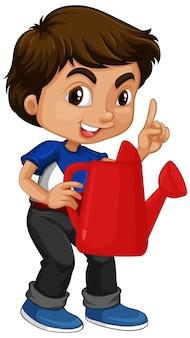 Azjatycki chłopiec trzyma czerwoną konewkę
