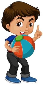 Azjatycki chłopiec trzyma piłkę koloru