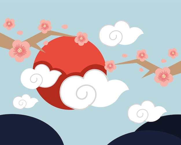 Azjatycki kwiat i niebo