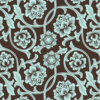 Azjatycki ornamentalny kolorowy antykwarski kwiecisty wzór.