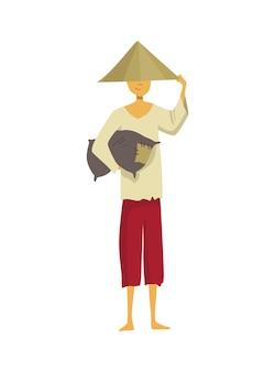 Azjatycki rolnik w słomianym stożkowym kapeluszu. kultura wiejska azji. chiński rolnik niosący plony w rękach. ilustracja kreskówka wektor