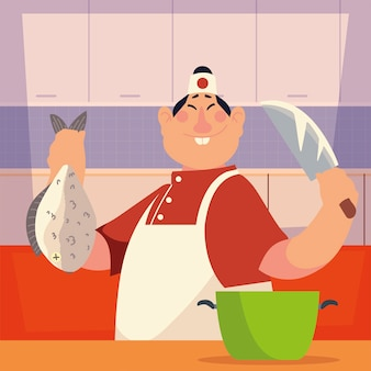 Azjatycki szef kuchni z rybami i nóż pracownik profesjonalnej restauracji ilustracji wektorowych