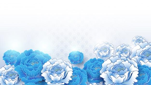 Azjatycki tradycyjny błękitny i biały kwiecisty tło