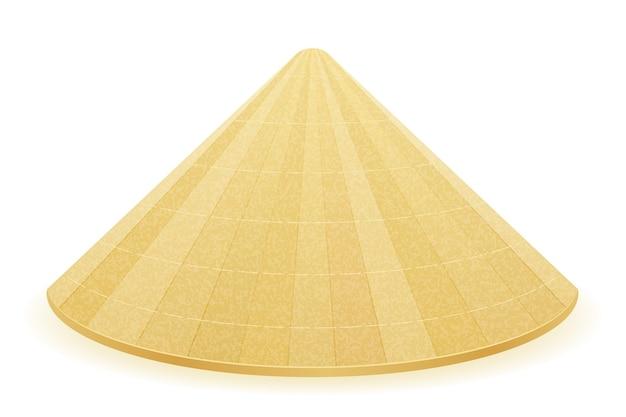 Azjatycki tradycyjny kapelusz słomkowy ilustracja na białym tle