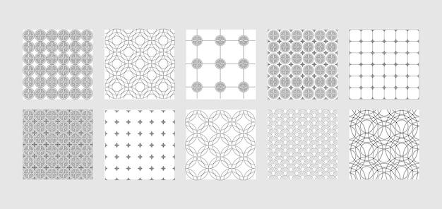 Azjatyckie abstrakcyjne bezszwowe wzory ustawione powtórz tła
