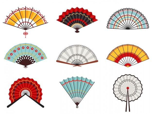 Azjatyckie wachlarze ręczne. papierowe składane wachlarze, chiński, japoński zestaw ikon ilustracji dekoracyjnych tradycyjnych orientalnych drewnianych fanów. tradycyjny dodatek do wentylatora, składana porcelana tradycyjna dekoracja