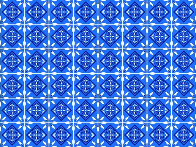 Azulejos portugalski wzór podłogi płytki, lizbona bezszwowe indygo niebieskie płytki, vintage geometryczne ceramiczne, hiszpańskie tło wektor. marokański geometryczny patchwork do wnętrza. marokańska tapeta azulejo