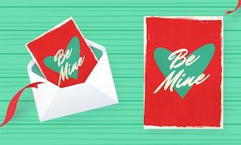 Bądź mój pozdrowienie projekt karty w stylu retro na Walentynki