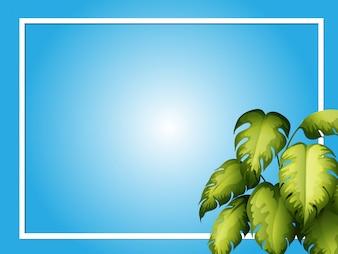 Błękitny tło szablon z zielonymi liśćmi