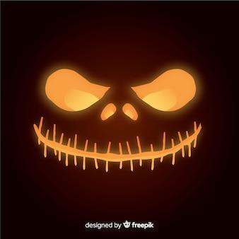 Błyszczące tło halloween dynia twarz