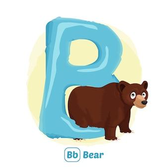 B jak niedźwiedź. styl rysowania ilustracji zwierząt alfabetu dla edukacji