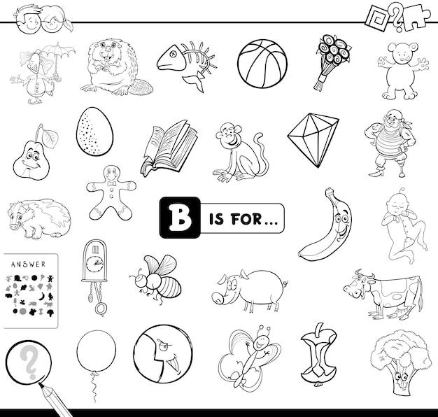 B jest dla książki do kolorowania edukacyjnych gier