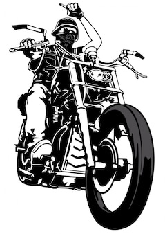 B & w motorcyclist from gang