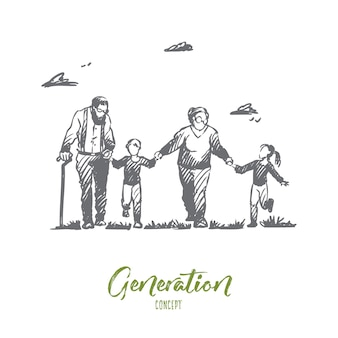Babcia, Dziadek, Wnuki, Rodzina, Koncepcja Pokolenia. Ręcznie Rysowane Szczęśliwy Duża Rodzina Z Babcia I Dziadek Szkic Koncepcja. Premium Wektorów