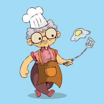 Babcia gotowanie jajko grafik znaków