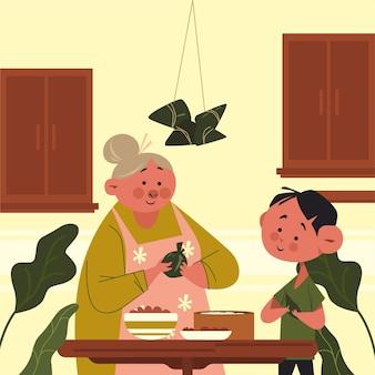 Babcia i dziecko przygotowują zongzi