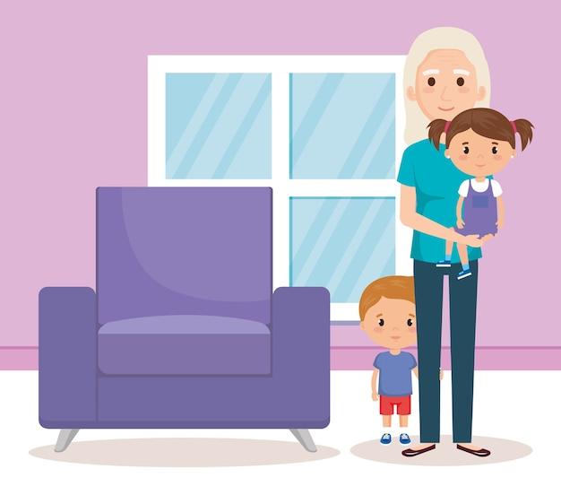 Babcia i geandwildren w salonie