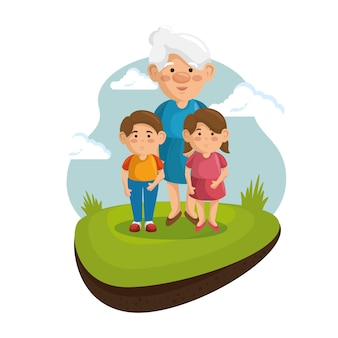 Babcia i wnuki w parku