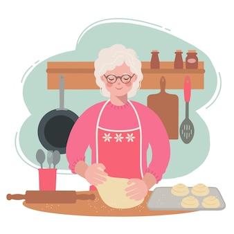 Babcia jest w kuchni i rozwałkowuje ciasto na bułeczki. ilustracja starszej kobiety przygotowującej posiłek.