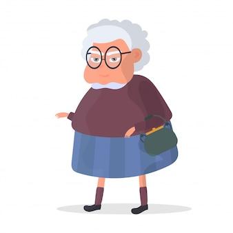 Babcia na białym tle na białym tle. ilustracja babci z kreskówek.