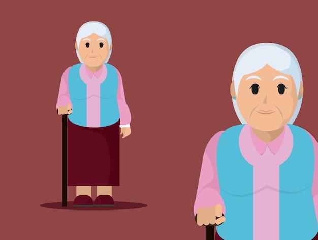 Babcia słodkiej kreskówki wektorowy ilustracyjny graficzny projekt