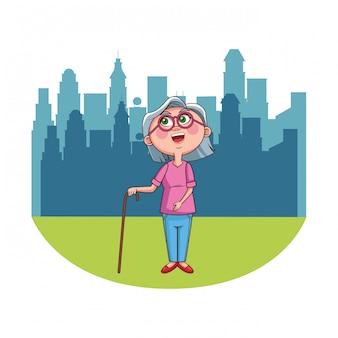 Babcia starszy osoba miasto