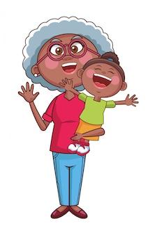 Babcia starszy wnuczka