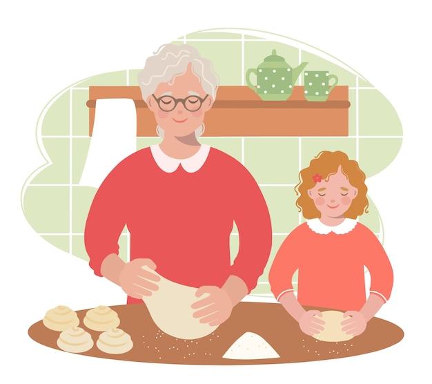 Babcia uczy wnuczkę rozwałkowania ciasta na bułki