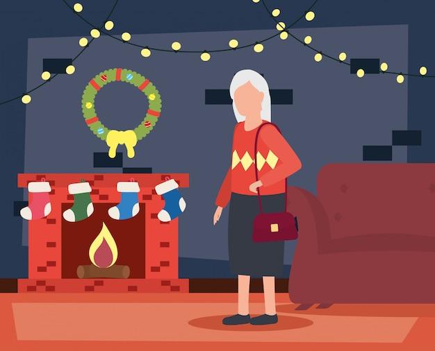 Babcia w salonie z dekoracją świąteczną