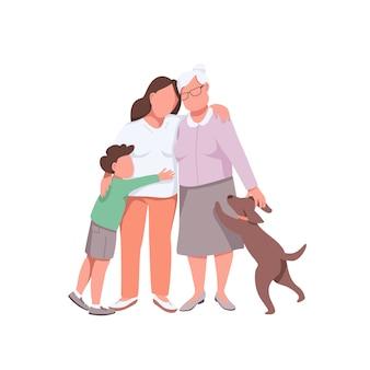 Babcia z wnukiem córki i psem