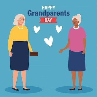 Babcie z sercami na dziadka dnia wektorowym projekcie