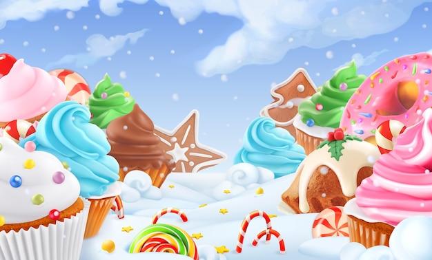 Babeczka, bajkowy tort. słodki zimowy krajobraz. boże narodzenie tło.