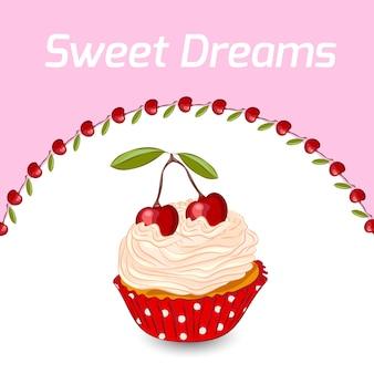 Babeczka z bitą śmietaną i wiśnią. urodziny. koncepcja słodkich snów.