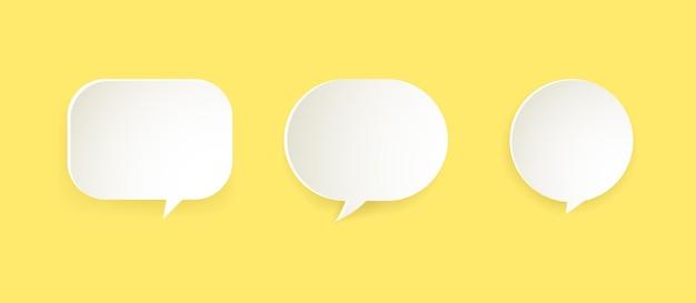 Bąbelki komunikacyjne w stylu papieru na żółtym tle