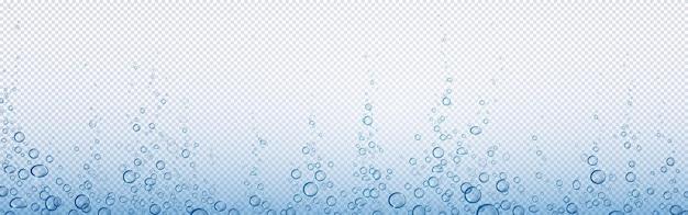 Bąbelki sody, gazowana woda lub tlen, napój gazowany, streszczenie podwodne.