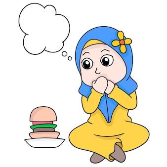Bąbelkowy czat piękna muzułmańska dziewczyna hidżab na czczo wytrzymać pokusę jedzenia, ilustracji wektorowych sztuki. doodle ikona obrazu kawaii.