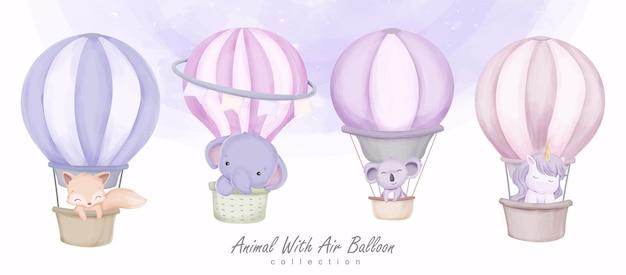 Baby animal i air balloon clipart zestaw ilustracji