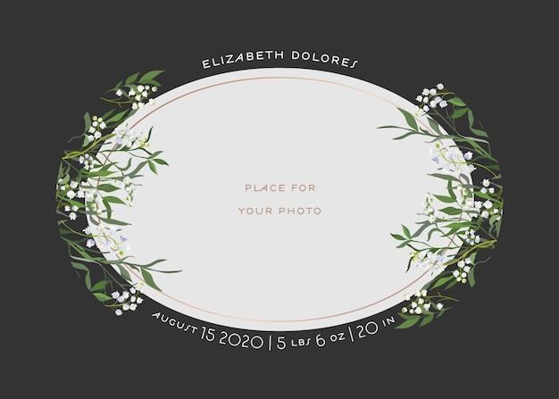 Baby born z życzeniami z kwiatowymi elementami. szablon baby shower ramka na zdjęcia z kwiatami lilii. noworodek, zaproszenie na ślub zapisz kartę data z wieńcem, liście. ilustracja wektorowa
