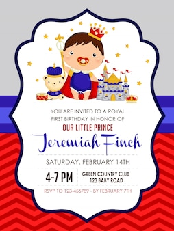 Baby boy prince urodziny zaproszenie