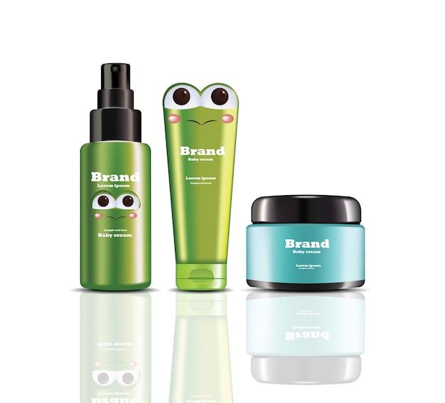 Baby cream and spray realistyczne kosmetyki wektorowe. projektowanie etykiet opakowań produktów