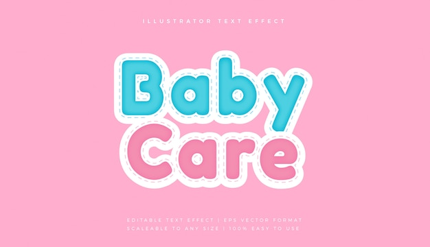 Baby cute stitch text style font effect