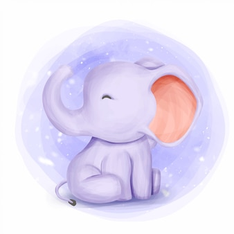 Baby elephant cute animal watercolor