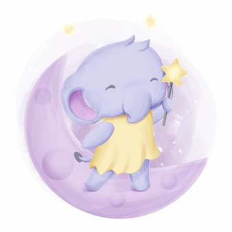 Baby elephant stand on the moon