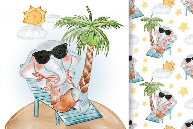 Baby elephant sunbathing seamless watercolor illustration nursery