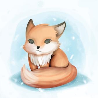 Baby fox siedzieć ładny akwarela ilustracja