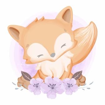 Baby foxy i piękne kwiaty