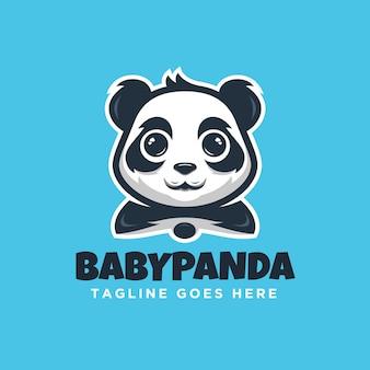 Baby panda cute happy logo szablon nowoczesny i minimalizm