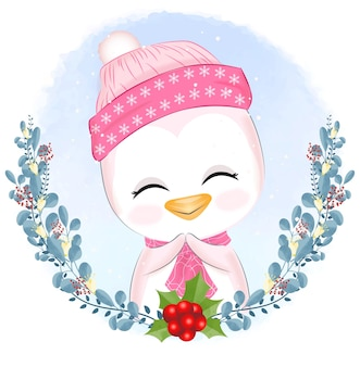 Baby pingwin z wieniec boże narodzenie ilustracja.